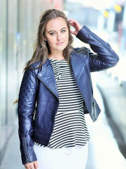 Sculpt Australia womens leather jacket Sculpt's Classic Navy blue Leather Jacket