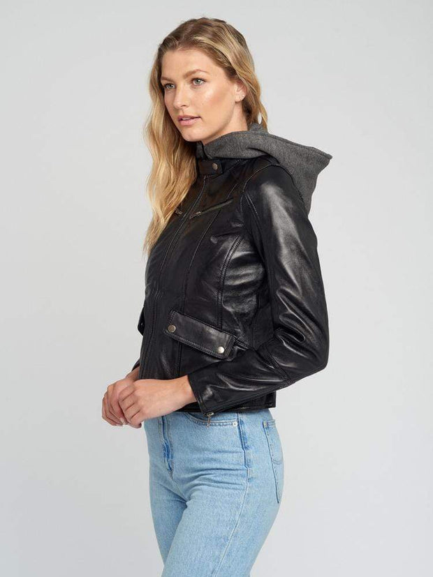 Sculpt Australia womens leather jacket Sculpt's Hooded Black Leather Jacket