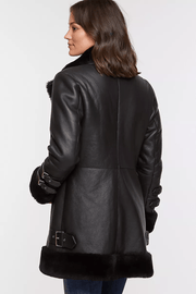 Sculpt Australia womens leather jacket Siana Black Shearling Leather Jacket