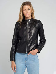 Sculpt Australia womens leather jacket Snap Tab Collar Black Leather Jacket