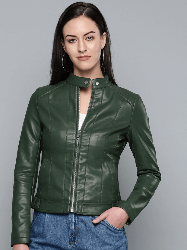 Sculpt Australia womens leather jacket Snap Tab Green Leather Jacket