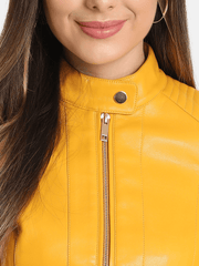 Sculpt Australia womens leather jacket Snap Tab Yellow Leather Jacket