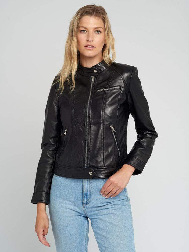 Sculpt Australia womens leather jacket Tab Collar Black Leather Jacket