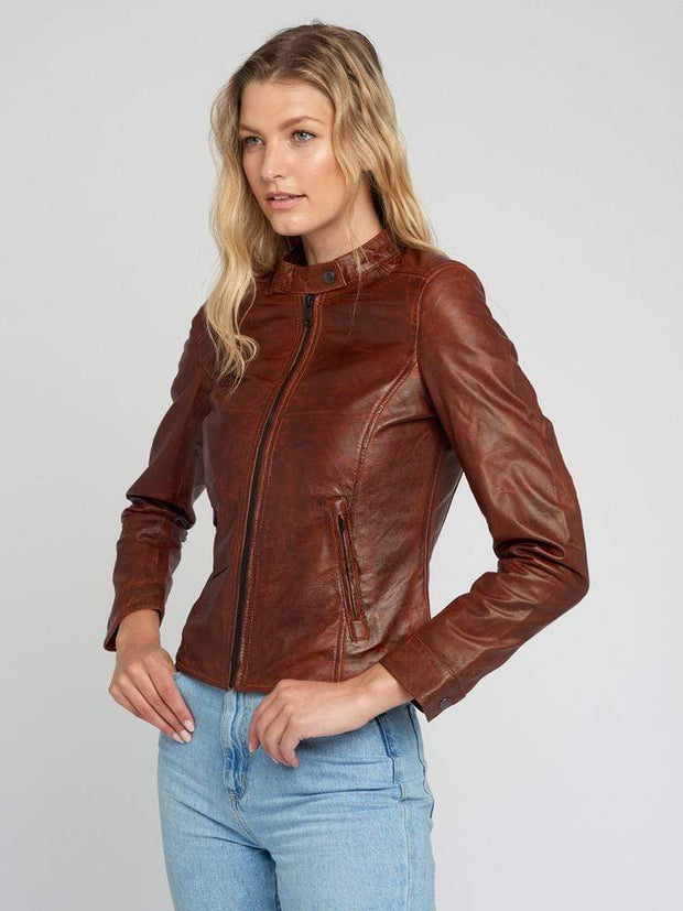 Sculpt Australia womens leather jacket Victoria Brown Leather Jacket