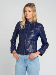Sculpt Australia womens leather jacket Victoria Navy Blue Leather Jacket