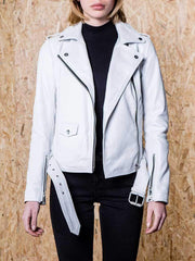 Sculpt Australia womens leather jacket White Biker Leather Jacket