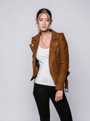 Sculpt Australia womens leather jacket Zoe Brown Suede Jacket