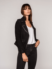 Sculpt Australia womens leather jacket Zoe Suede Black Jacket