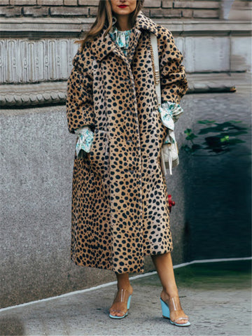 Sexy leopard lapel autumn and winter coat