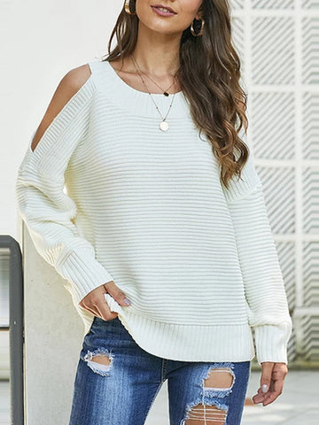 Fashion Solid Color Long Sleeve Off Shoulder Knit Sweater