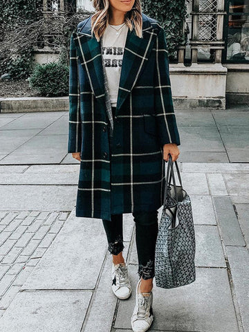 Fashion Fold Collar Button Plaid Coat