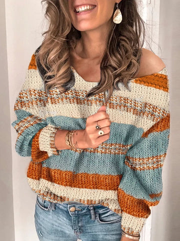 Sexy V Neck Bishop Sleeve Sweater