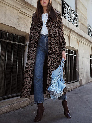 Fashion leopard print long coat