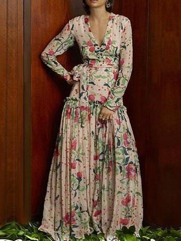 Flash Sale Sexy Deep V Collar Floral Printed Pagoda Sleeve Maxi Dress
