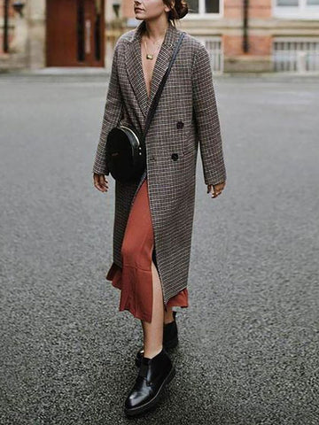 Fashion Lapel Long Sleeve Plaid Overcoat
