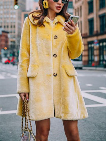 Fashion Solid Color Warm Coat