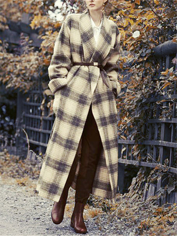 New Womens Plaid Coat