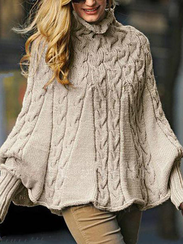 Fashion High-Neck Pure   Colour Knitwear
