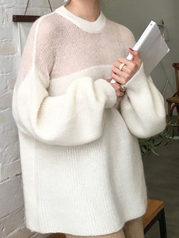 Casual Bishop Sleeve Round Neck Mohair Loose Sweater