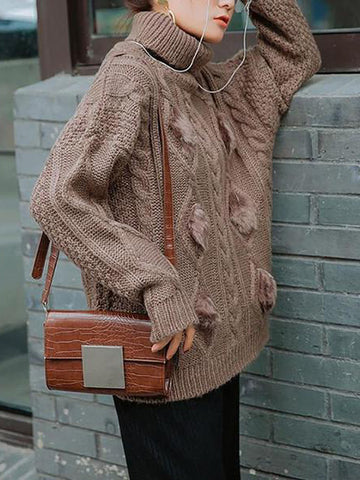 Casual Thickening Pure Colour Mohair High Collar Loose Sweater