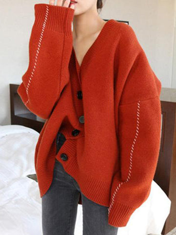 Casual V Neck Loose Pure Colour Sweater