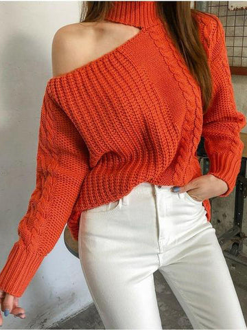 Casual Hollow Out Off-Shoulder Linen Knitted Sweater