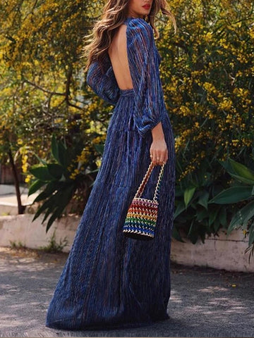 Casual Sexy Deep V   Neck Backless Strips Maxi Dress