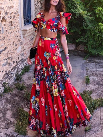 Fashion Off-Shoulder Pleated Printed Colour Suit