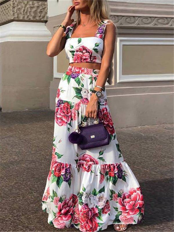 Fashion Sexy Women Printed Colour Braces High Waist Dress