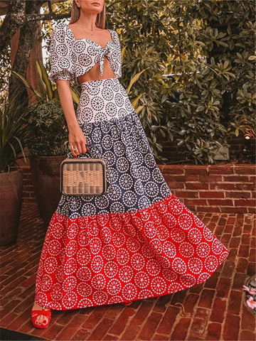 Fashion Printing Splice Color High Waist Two Piece Dresses