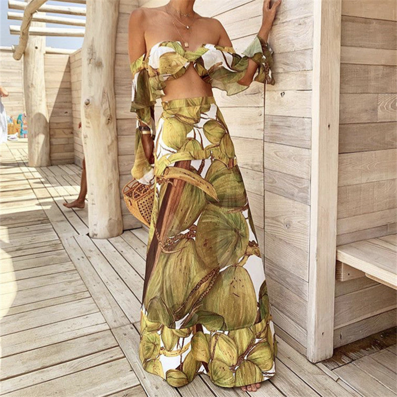 Sexy Wrapped Chest Printed Vest Dress Suits