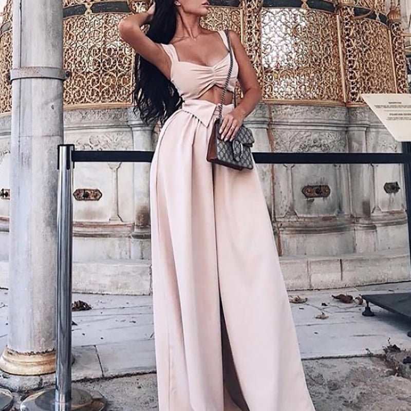 Women's Solid Color Bow Sleeveless Jumpsuit