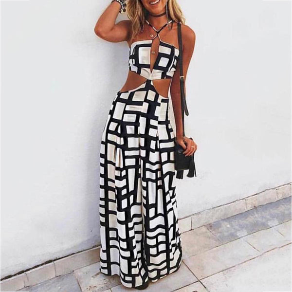 Fashion Sexy Hollow Out Printed Colour Loose Jumpsuits