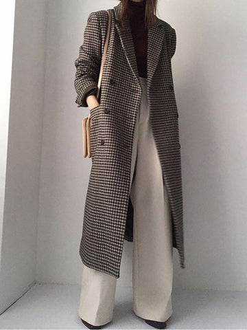 Women's Vintage Tailored Collar Double-Breasted Check Overcoat