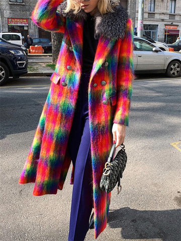 Fashion Color Block Long Wool Coat