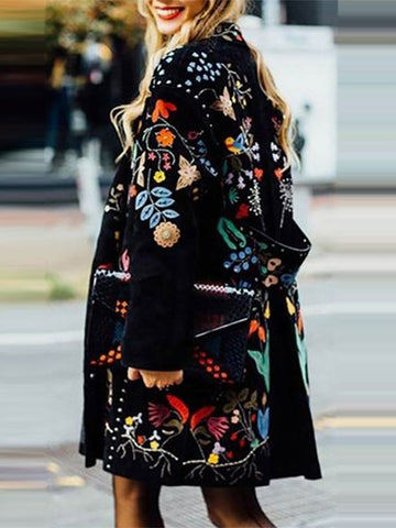 Sweet Embroidered Long-Sleeved Woolen Loose Coat