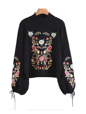 Women's Floral Embroidery Sweater