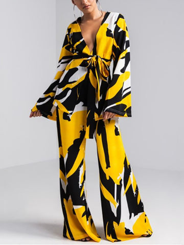 Fashion Printed Colour With Belt Two Piece Suit