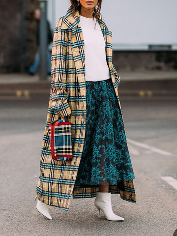 Women's Fashoin Plaid Printed Colour Overcoat
