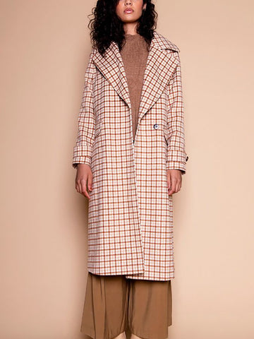 Fashion Lady Plaid Lapel Coat