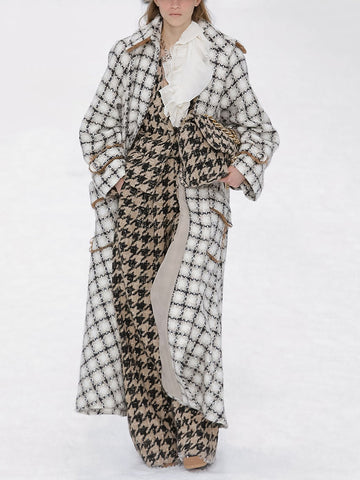 Women's Fashion Long Plaid Coat