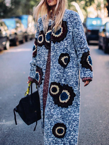Women Fashion Floral Print Long Coat