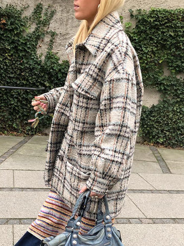Women's Fashion Plaid Printed Long Sleeve Coat