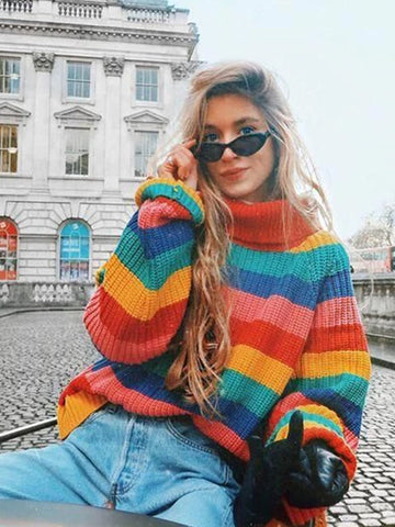 Rainbow Striped Loose Large Size Sweater