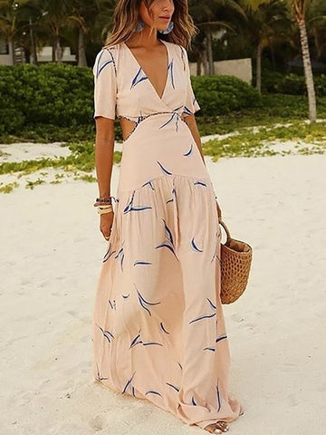 Deep V Waist Hollow Printed Vacation Dress