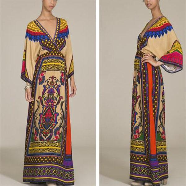 Autumn Bohemian Printed National Style Long Sleeves Casual Dress
