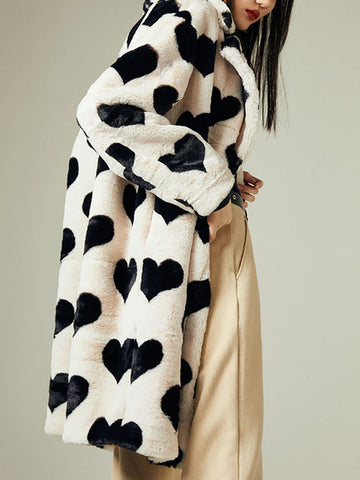 Women's heart-shaped printed plush coat