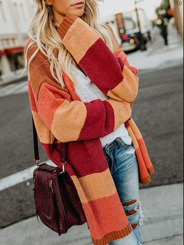 Fashion Long Sleeve Mixed Color Stripe Sweater Coat