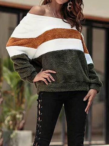 Fashion Word Shoulder Color Matching Plush Sweater
