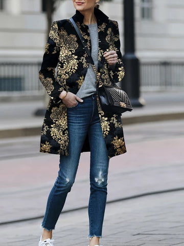 Fashion Printed Colour Printed Long Sleeve Coat
